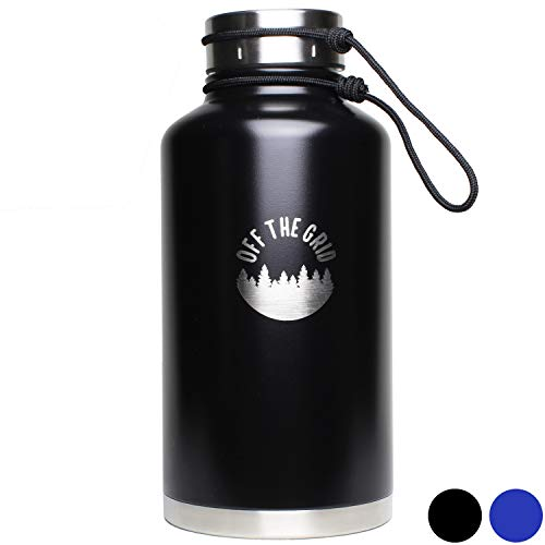 Stainless Steel Growler - Double Walled Water Bottle 64 oz (Half Gallon) Extra Large - Oversized Vacuum Insulated Wide Mouth Tumbler for Keeping Beer, Coffee and Other Liquids Hot/Cold and Car (Black)
