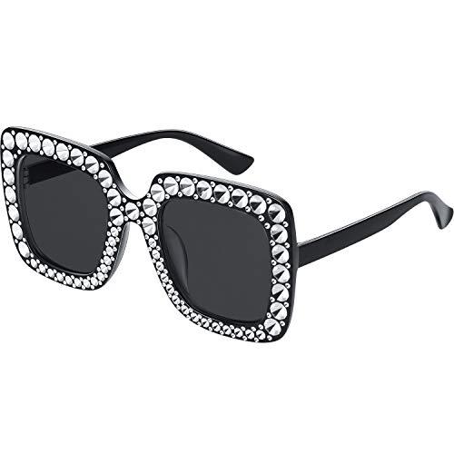 Übergroße Quadrat Funkelnde Sonnenbrille Retro Dick Rahmen Sonnenbrille (1 Stück, Schwarz)