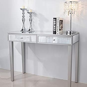Chende Mirrored Vanity Desk with Drawers Silver Makeup Dressing Table for Bedroom Console Table for Home Office Furniture Entryway Foyer
