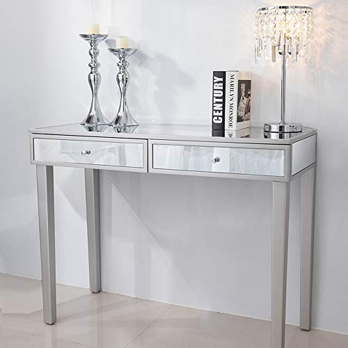 Chende Mirrored Vanity Desk with Drawers, Silver Makeup Dressing Table for Bedroom, Console Table for Home Office Furniture Entryway Foyer
