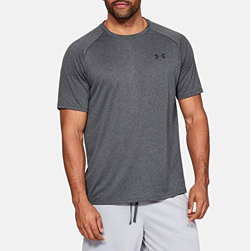 Under Armour Herren Tech 2.0 Shortsleeve atmungsaktives Sportshirt, Carbon Heather / Black, L