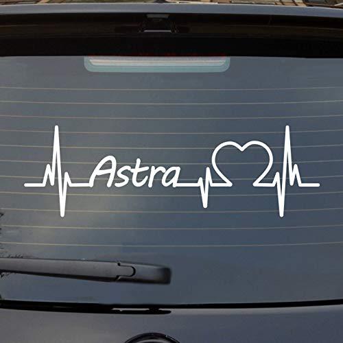 Hellweg Druckerei Auto Aufkleber für Opel Astra Fans Herzschlag Marke Liebe Heckscheibe Sticker Weiß Glanz