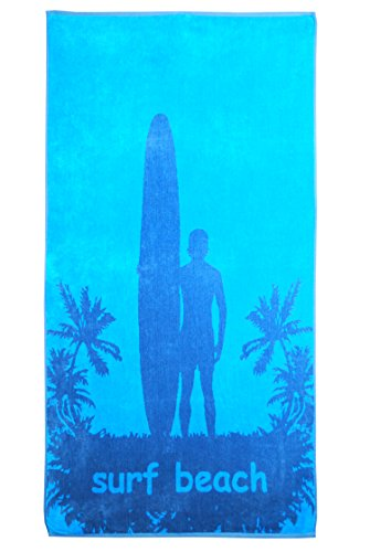 Superior Luxurious 100% Cotton Beach Towels, Oversized 34' x 64', Soft Velour Cotton and Absorbent Cotton Terry, Thick and Plush Surfing Beach Towels - Surf Beach