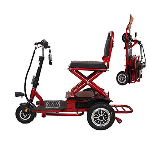 XYDDC Bewegliches kleine Mini Folding Elektro-Dreirad geeignet für ältere Menschen im Freien Freizeit Scooter / 48V20A Lithium-Batterie / 55 Km Last 150kg DREI Gang,Rot