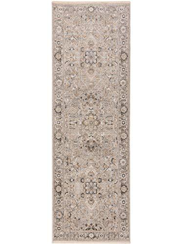 benuta CLASSIC Alfombra para Pasillo Jared, Gris Claro, 80 x 240 cm