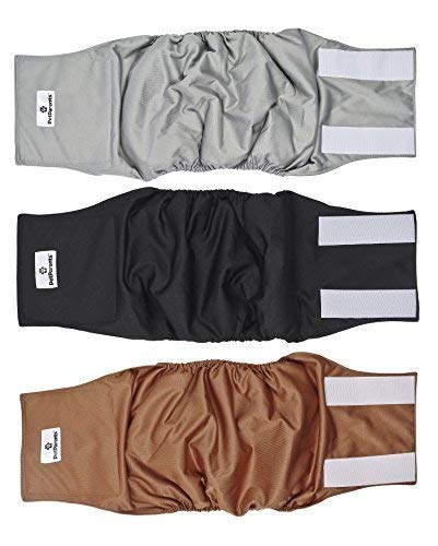 Pet Parents Premium Washable Dog Belly Band (3pack) of Male Dog Diapers, Color: Natural, Size: Large Dog Wraps