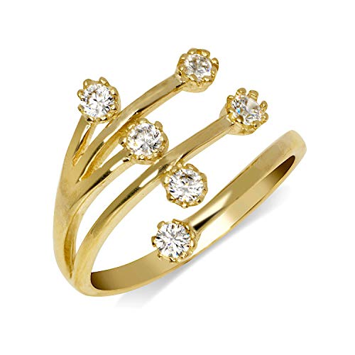 JewelryWeb Solid 10K Gold Elegant Waterfall Adjustable Cubic Zirconia CZ Toe Ring for Women Gold (12mmx15mm) (Yellow-Gold)
