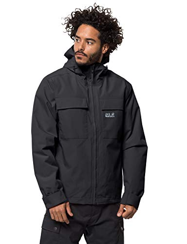 Jack Wolfskin Herren Winter RAIN Jacket M Wetterschutzjacke, Black, L