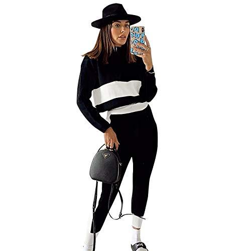 Geagodelia Chándal de mujer de manga larga a rayas sencillo con cremallera + pantalones de cintura alta 2 piezas completo mujer casual yoga otoño Negro s