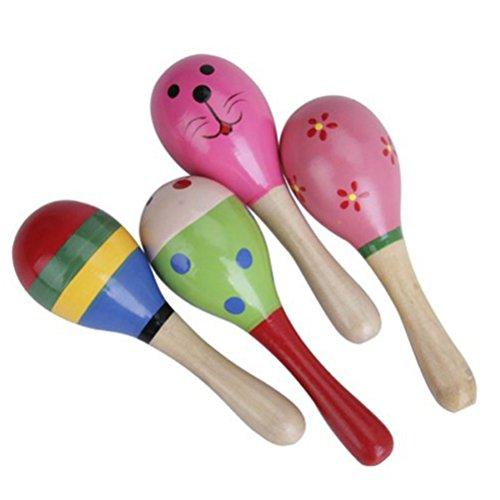 PIXNOR Maracas in legno percussioni sonaglio Shaker strumenti musicali giocattolo educativo - 1 pezzo