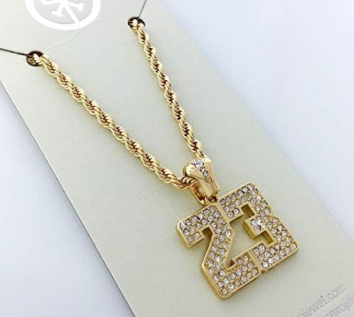 Gold & Iced Out Number 23 Pendant Hip Hop Necklace Jordan