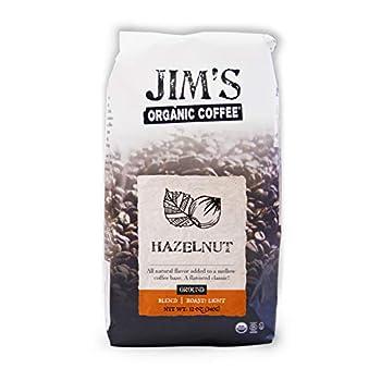 Jim's Organic Coffee – Hazelnut All Natural Flavored Blend – Light Roast Ground Coffee 12 oz Bag