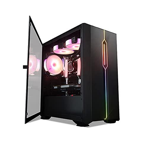 LIQIANG Caja De Ordenador Gaming, Caja Pc Micro ATX, Light RGB - Panel Frontal De Malla - Panel Lateral De Vidrio Extraíble - Gestión De Cables - Estuche para Juegos De Alto Flujo De Aire