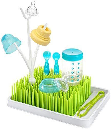 Babyflaschen-Abtropfgestell für Gras, Gras, Arbeitsplatte, Babyflaschen, Trockengestell, Rasen, Arbeitsplatte, Babyflaschen-Abtropfgestell, Halter für Flasche, Tasse, Schank und mehr (weiß/grün)