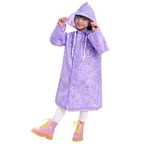 Evedaily Unisexe Manteau Imperméable Enfant Fille Garçon Ponchos /Cape de Pluie Epaisse Avec Capuche Raincoat Longue Léger Motif Cartoon Anti-Pluie Beau Design Pour Sac d'École(Violet L)