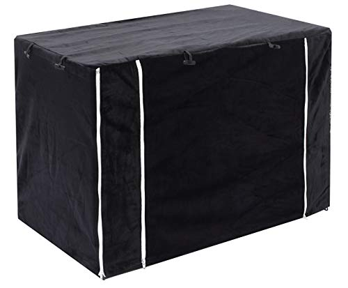 Brabtod 2 in 1 Dog Crate Cover for Wire Crates Cages Kennel, Doubles as a Comfy Blanket, Polar Fleece Pet Kennel Cover Indoor Protection - Cover only - Black - L Categories