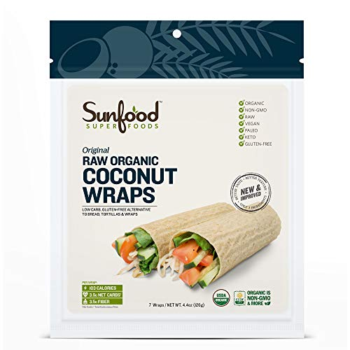 Sunfood Superfoods Original Coconut Wraps Raw Organic 7 ct