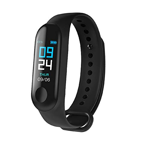 SHOPTOSHOP M3I Smart Band Fitness Tracker Watch with Heart Rate, Activity Tracker Waterproof Body Functions Like Steps Counter, Calorie Counter, Heart Rate Monitor LED Touchscreen (Black)