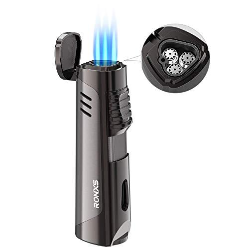 RONXS Sturmfeuerzeug, 3 Jet Flammen Feuerzeug Gasfeuerzeug Gas Nachfüllbar, Kein Gas enthalten, mit Geschenkbox, Ohne Gas