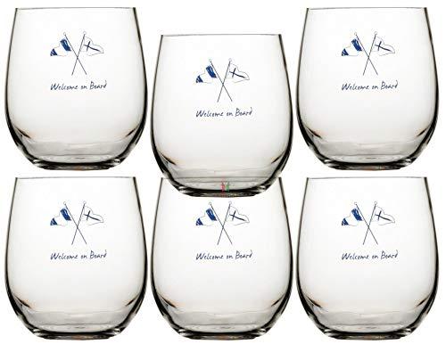 Marine Business Wasserglas Set 6 Stück, unzerbrechlich - Welcome On Board
