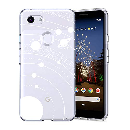 Unov Pixel 3a Case Clear with Design Soft TPU Shock Absorption Slim Embossed Pattern Protective Back Cover for Pixel 3a 5.6 inch (White Universe)