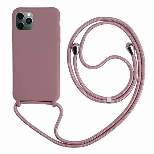2ndSpring Funda con Cuerda Compatible con iPhone 11 Pro MAX 6.5,Colgante Collar Correa de Cuello Cadena Cordón,Silicona Suave Rose Gold