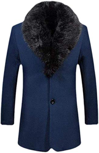 Men Hipster Faux Fur Collar Slim Fit Long Sleeve Solid Wool-Blend Topcoat