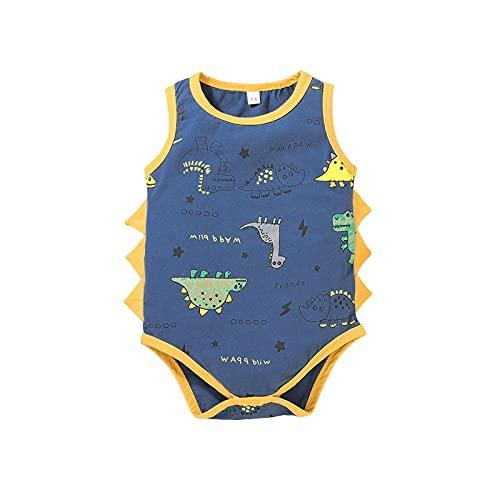 Toddler Boy Newborn Baby Girl Pagliaccetto Tuta Girocollo Gilet Senza Maniche Top Dinosauro Tuta Neonato One Piece Pantaloni Striscianti Bambini Vestiti Causali Outfit (Blu, 18-24 Mesi)