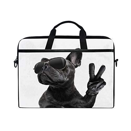 HAIIO Laptop Bag Case Cool Peace Dog French Bulldog Computer Protector Bag 14-14.5 inch Travel Briefcase with Shoulder Strap for Women Men Girl Boys