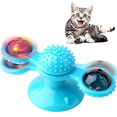 Exboard Windmill Cat Toys, Turntable Interactive Cat Toy with Suction Cup Brush for Cat Tooth Cleaning Scratching,Wall Mount Cat Spinner with Rotatable Toy ball (Blue)