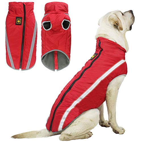 teyiwei Dog Coat Warm Winter Jacket,Reflective Vest Dog Winter Puppy Warm Windproof Clothes Waterproof Jacket with Dog Harness Ring for Cold Weather Dog Outwear (Red/XL)