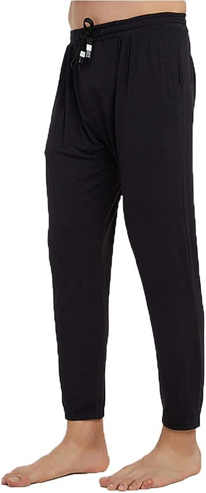 Men's Light Weight Thermals Pants Underwear Soft Long Johns Thin Pyjama Trousers 02Black 2XL