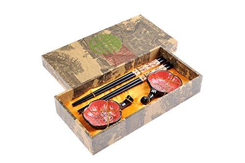 """Quantum Abacus: set de palillos chinos hechos de madera, diseño """"Flores de ciruelo"""", viene con soporte para los palillos y cuencos de cerámica en una caja de regalo (un par de palillos, dos soportes y dos cuencos), CBS-S2-G-H02"""