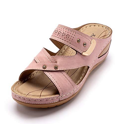 OJBK Sandalias para Mujer Verano Sandalias Cuña con Plataforma Deslizamiento Zapatos Cómodos De Punta Abierta Gladiador Playa Fiesta Sandalias Planas,Rosado,38