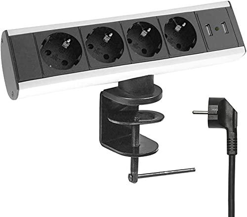 Elbe Inno Tischsteckdose mit USB, 4 Fach horizontale Tischsteckdosenleiste mit 2 USB-Anschlüsse, Steckdosenleiste mit 1,5m Anschlusskabel, für Büro-, Arbeits- und Küchenflächen EL10204U