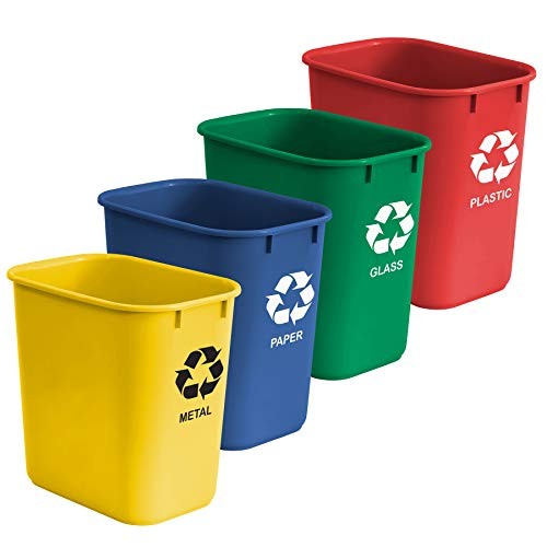 Acrimet Wastebasket Bin for Recycling 27QT (Made of Plastic) (Metal/Yellow, Paper/Blue, Glass/Green, Plastic/Red) (Set of 4)