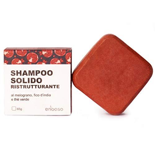 Shampoo Solido Bio Ristrutturante e Nutriente al Melograno, Fico e Te Verde 65 g - Enooso - 100%...
