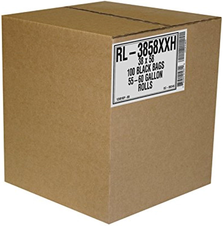 Aluf Plastics RL-3858XXH T-Tough Roll Pack Low Density Repro Blend Star Seal Coreless Rolls Bag, 55-60 Gallon Capacity, 58  Length x 38  Width, XXH Strength, Black (Pack of 100)