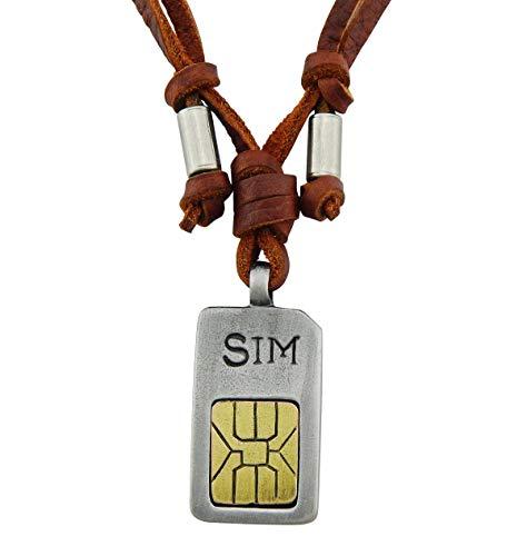 Preisvergleich Produktbild Veuer Echtleder Echtes Leder Hals-Kette Schmuck für Herren Mobile SIM Karte Geschenk zu Weihnachten für Männer,  Freund,  Ehe-Mann