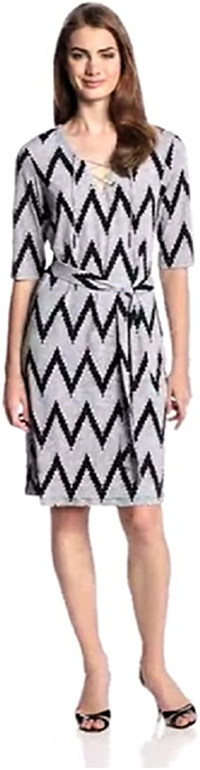MSK Women's Elbow-Sleeve Shoelace-Neck Chevron Print Dress