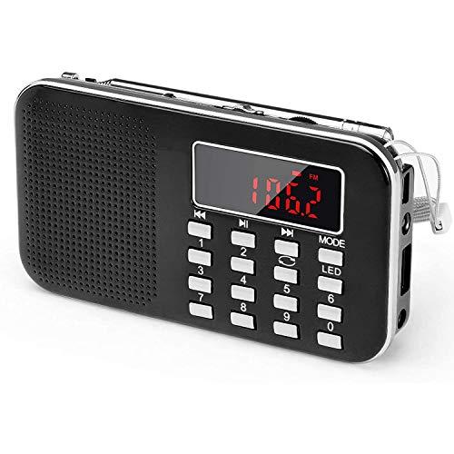 WFGZQ Radio Am/FM Portátil, Radio con Iluminación De Emergencia, Soporte para Micro SD/AUX/USB, Batería Recargable De 1200 Mah
