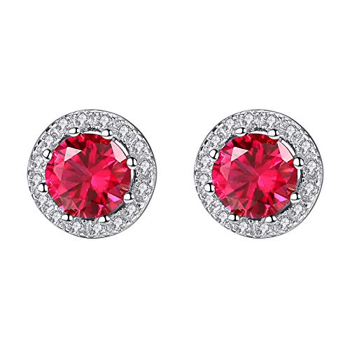 Adokiss Women's 925 Sterling Silver Earrings Wedding Round Shape Red and White Cubic Zirconia Silver Anniversary Gift for Her Birthday Gift for Best Friend