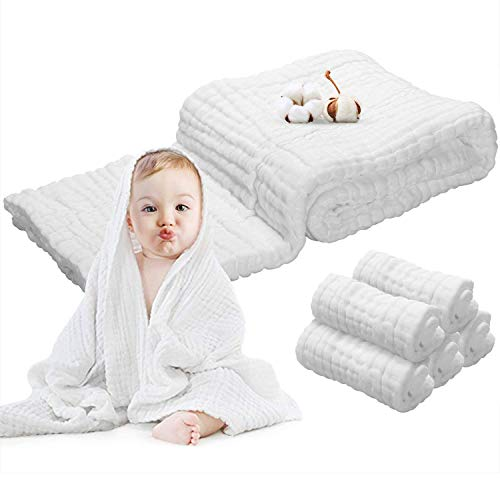 Baby Muslin Towels Washcloths Set - 5 Washcloths + Baby Blanket Bath Towel of 6 Layers 100% Cotton Gauze Super Soft Absorbent for Newborn Infant