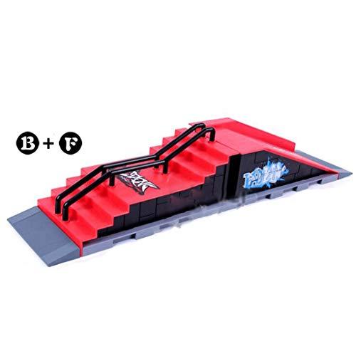YWAWJ Partes Profesionales de rampa for Mini Dedo monopatín Parques Dedo monopatín Lugar Prop Juguetes Sistema el Hacer Juego de combinación del Sistema Completo (Color : B+f)