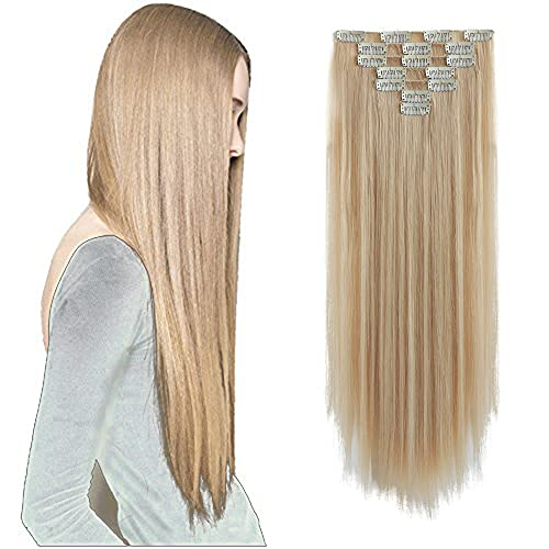 SYXLCYGG Blonde Hair Extensions ,Clip In Hair Extension 22'Straight Fluffy and not Tangled 18' Wavy Black Hair Pieces for Women Synthetic Cheap Curly...