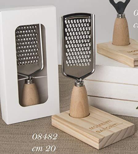 Grattuggia per formaggio su base legno in scatola regalo bomboniera Dimensioni: 20 cm circa Multicolore