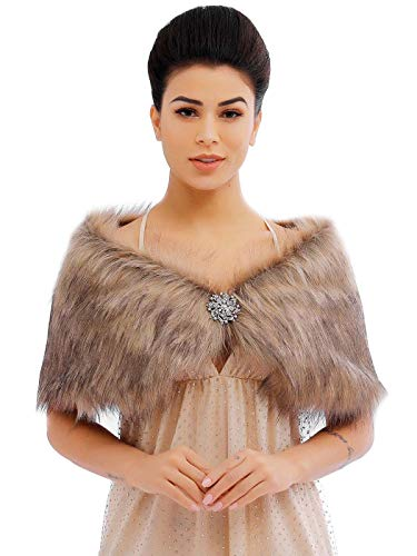 Feality Women's Faux Fur Shawls and Wraps Wedding Fur Stole 1920s Bridal Fur Shrugs for Evening Dresses (Brown, 2-8)