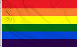HomeSmith 3'x5' Foot Rainbow Flag Gay Lesbian Pride LGBT Banner Flags - Vivid Color and UV Fade Resistant - Canvas Header and Double Stitched Polyester with Brass Grommets by