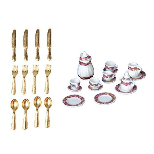 SM SunniMix Set 1/12 Platos de Casa de Muñecas Juego de Té Tenedores Decoración en Miniatura para Casa de Muñecas