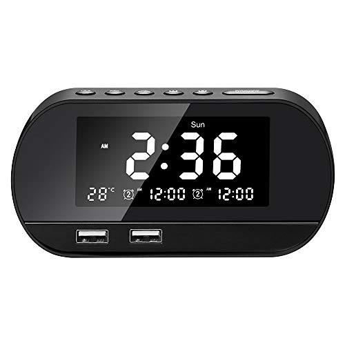 DKEE Carga Inteligente Inalámbrico De Alarma De Radio Pantalla 13CM Temperatura USB LCD De 6, 2 Cm * 7, 1 Cm * Reloj (Color : Black)